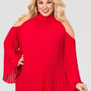 NWT Red HOT Cold Shoulder Blouse ~ Ashley Stewart